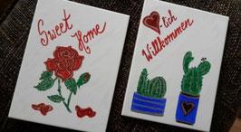 "2-er Set Fliesen ""Sweet Home"" (Rose) & ""Herzlich Willkommen"" (Kakteen)"
