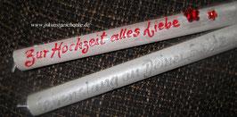 """2 Kerzen im Set """" Zur Hochzeit alles Liebe"""" & """"lebenslang an Deiner Seite"""""""