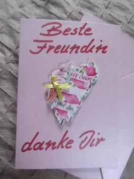"""Klappkarte mit Umschlag """"Beste Freundin - danke Dir"""""""