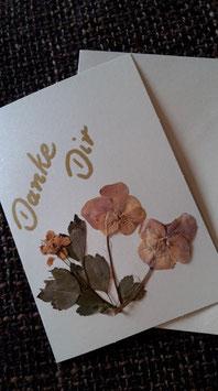 """Karte """"Getrocknete Blüten/Danke Dir"""" - Klappkarte mit Umschlag"""