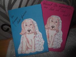 2 große Klappkarten mit gemaltem Hundemotiv (ohne Umschläge)