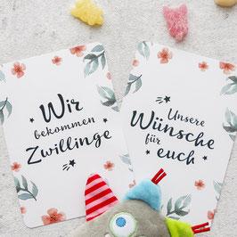 Meilensteinkarten Schwangerschaft / Zwillinge