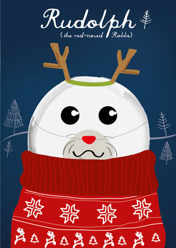 Rudolph, the red nosed Robbe   Postkarte