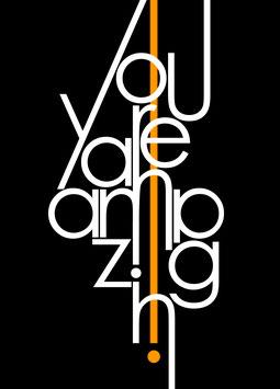 You are amazing / weiß auf schwarz | Postkarte
