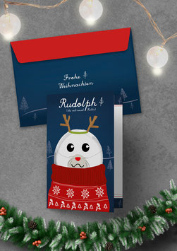 Rudolph, the red nosed Robbe | Klappkarte