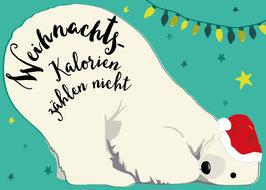 Weihnachtskalorien / Eisbär | Postkarte