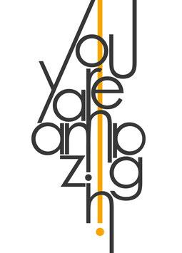 You are amazing / schwarz auf weiß | Postkarte