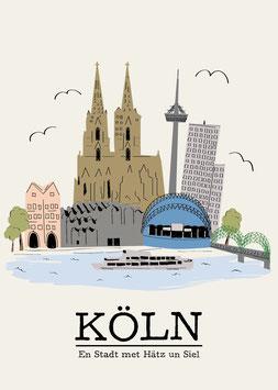 Köln / Stadt met Hätz un Siel | Postkarte