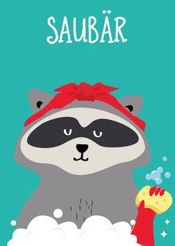 Saubär / Waschbär | Postkarte