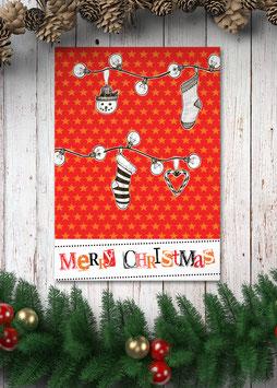 Merry Christmas / rot | Postkarte