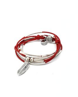 PLUME rouge - bracelet en cuir transformable en collier