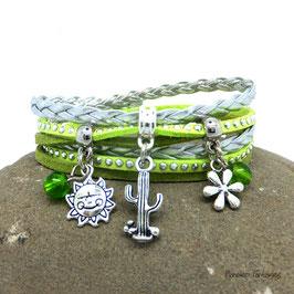 SAMSON - bracelet manchette cactus deux tours vert
