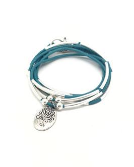 FAMILLE turquoise ♥ Bracelet en cuir arbre de vie