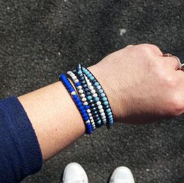 AZUR - Bracelet cuir wrap  bleu