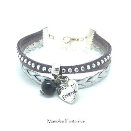 Best Friend- Bracelet mini manchette CŒUR gris