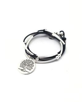 FAMILLE joli noir ♥ Bracelet en cuir arbre de vie