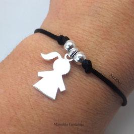 """♥ ARGENT ♥ Bracelet '' P'tite fille"""" en argent 925/1000 sur cordon."""