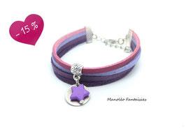 Bracelet 4 liens sequin et étoile dans les tons de violets...