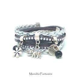 Bracelet ÉLÉPHANT double tour, dans les tons de gris et argenté...