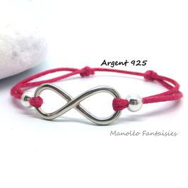 Bracelet INFINI en ARGENT et ses perles sur cordon fuchsia.