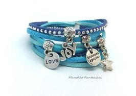 Bracelet LOEVA double tour, 4 liens suédine, dans les tons bleus, turquoise et argenté...