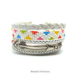 Bracelet CHENOA blanc et multicolore