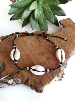 CAURI - Bracelet de cheville 3 coquillages et perles argent