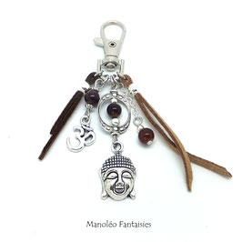 Bijou de sac ou porte-clés BOUDDHA dans les tons marrons et argentés