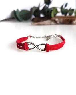 Bracelet Infini rouge et argenté