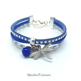 Bracelet mini manchette LIBELLULE dans les tons bleu, strass et argenté...