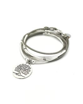 FAMILLE joli gris ♥ Bracelet en cuir arbre de vie rond