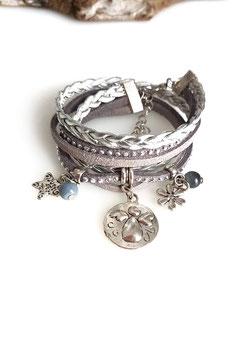 ANGE gris - Bracelet manchette multitour