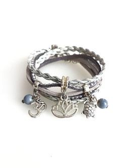 LOTUS gris bracelet double tour et ses pampilles