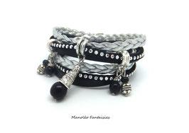 Bracelet ETHNIQUE double tour, perles, liens, dans les tons de noir et argenté...