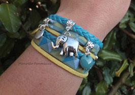 """Bracelet """"éléphant"""" double tour, sequins, liens, dans les tons turquoise, jaune et argenté..."""
