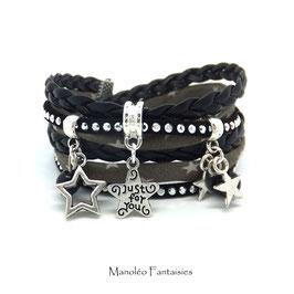 Bracelet ETOILES manchette 2 tours dans les tons noir, gris et argenté...