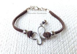 """Bracelet """"papillon vole..."""" marron et argenté"""