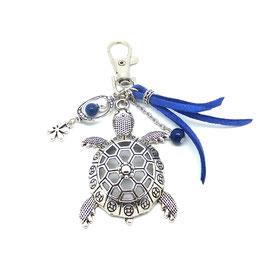 Bijou de sac ou porte-clés TORTUE bleu