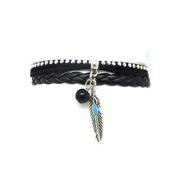 ANOKI noir - Bracelet plume mini manchette