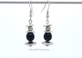 Boucles d'oreilles perles ethniques, plateaux argentés et perles noires...