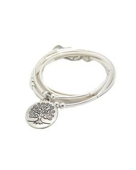 FAMILLE joli blanc ♥ Bracelet en cuir arbre de vie rond