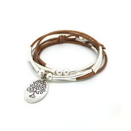 FAMILLE bronze ♥ Bracelet en cuir médaille arbre de vie ovale
