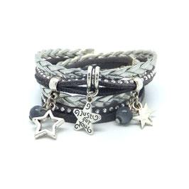 Bracelet ETOILES double tour dans les tons gris et argenté...