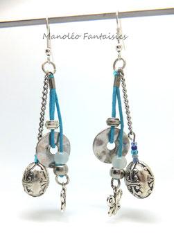 """Boucles d'oreilles """"butterfly"""" argentées et turquoises..."""