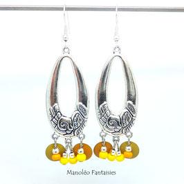Boucles d'oreilles ADELIE dans les tons jaunes et argentés...