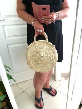 EPUISE - SOFIANE mini + - sac rond en osier anse en cuir