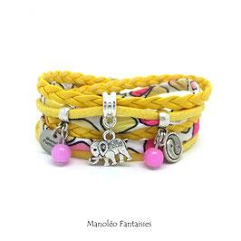 - 20 % Bracelet ELEPHANT double tour et ses pampilles dans les tons de jaune, rose et argenté
