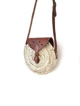 AMIR ajouré - petit sac rond à rabat, anse en cuir