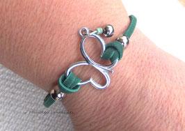 """Bracelet """"papillon vole..."""" vert émeraude et argenté..."""