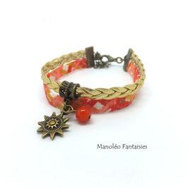 Bracelet 2 liens soleil et sa perle dans les tons de couleur orangés et bronze...